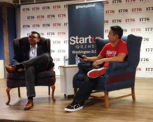 MicroStrategy co-founder Sanju Bansal (l) and Startup Grind DC director Brian Park (r).